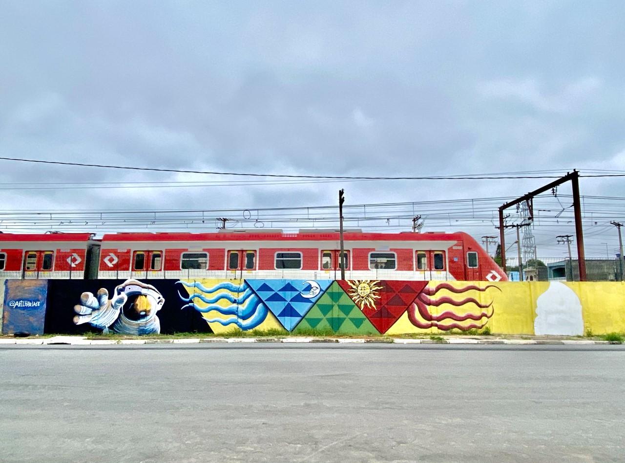 Cultura urbana foi contemplada com a participação de 30 grafiteiros em uma intervenção paisagística numa área de 2 mil m2 do muro da Companhia Paulista de Trens Metropolitanos (CPTM)