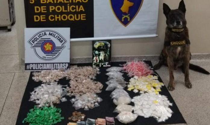 Polícia apreendeu as drogas com auxílio de cão farejador